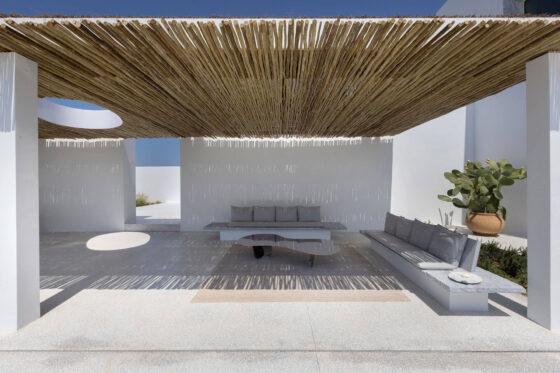 pergola premium pine, shading sticks, bamboo branches, paros residence