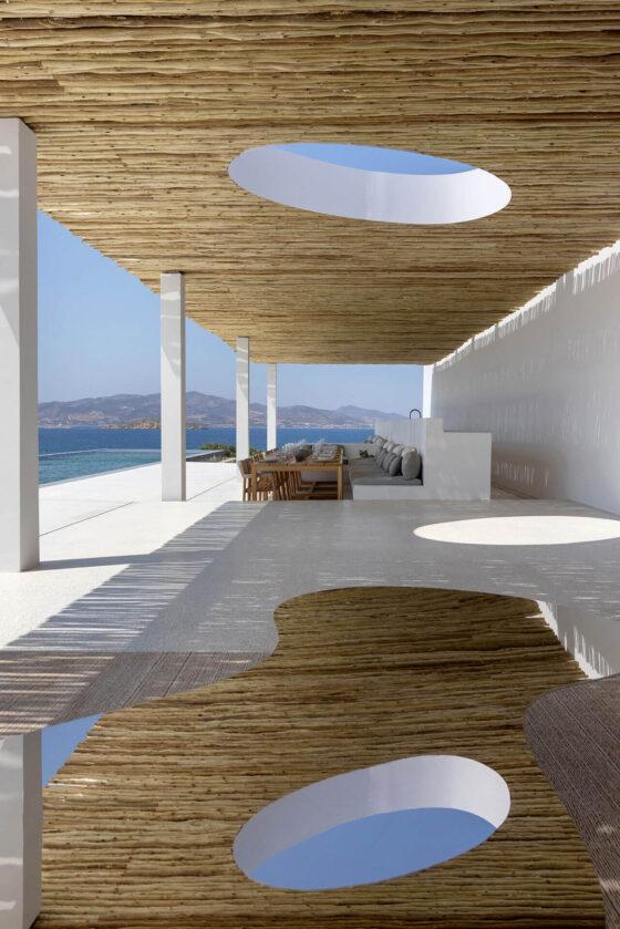 pergola premium pine, curved timbers, shading sticks, bamboo branches, paros residence